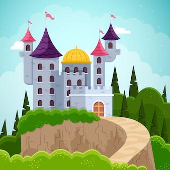 Concepto de castillo de cuento de hadas mágico