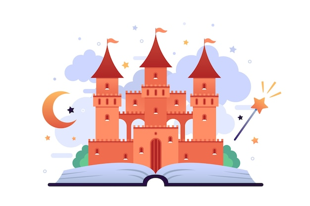 Concepto de castillo de cuento de hadas