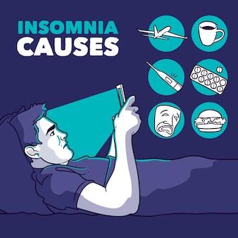 Concepto de causas de insomnio con el hombre