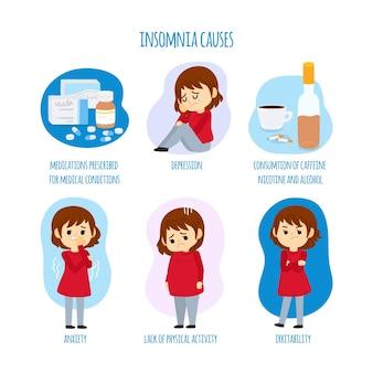 Concepto de causas de insomnio