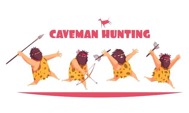 Concepto de caza de hombre de las cavernas con hombres primitivos que sostienen varios tipos de dibujos animados de armas antiguas