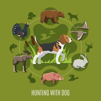 Concepto de caza con perro