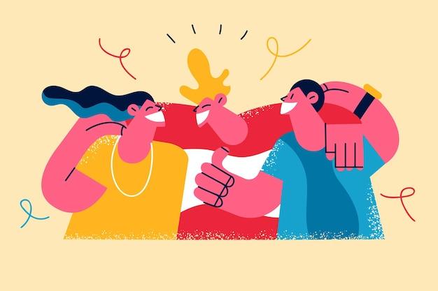 Concepto de celebración del día de la amistad feliz. grupo, de, gente joven, alegre, caricatura, abrazar, abrazar