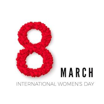 Concepto de celebración del día internacional de la mujer feliz. con elegante corazón decorado texto 8 de marzo sobre fondo blanco. ilustración