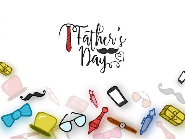 Concepto de celebración del día del padre con doodle iconos de accesorios y utilidades de un hombre o