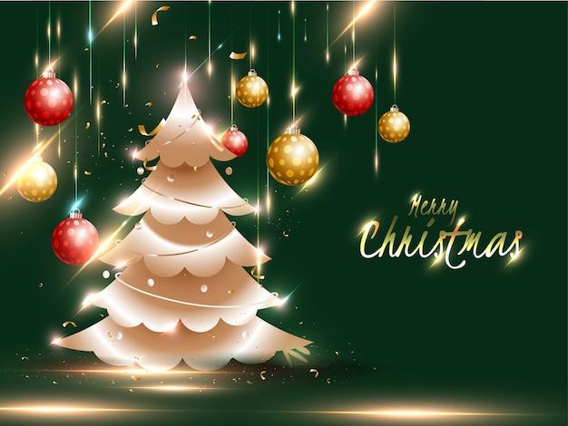 Concepto de celebración de feliz navidad con árbol de navidad, efecto de luz y adornos colgando sobre fondo verde.