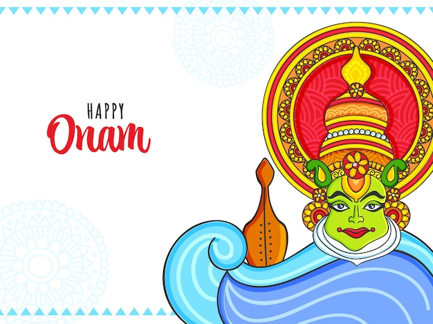 Concepto de celebración feliz onam con cara de bailarina kathakali y vallam kali (barco serpiente) sobre fondo blanco.