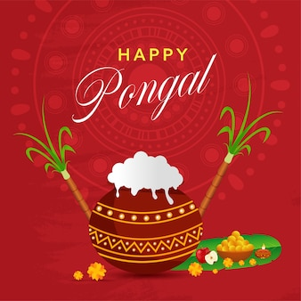 Concepto de celebración feliz pongal con arroz pongali en olla de barro