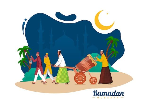 Concepto de celebración de ramadán mubarak con hombres musulmanes golpeando a tabuh bedug (tambor)