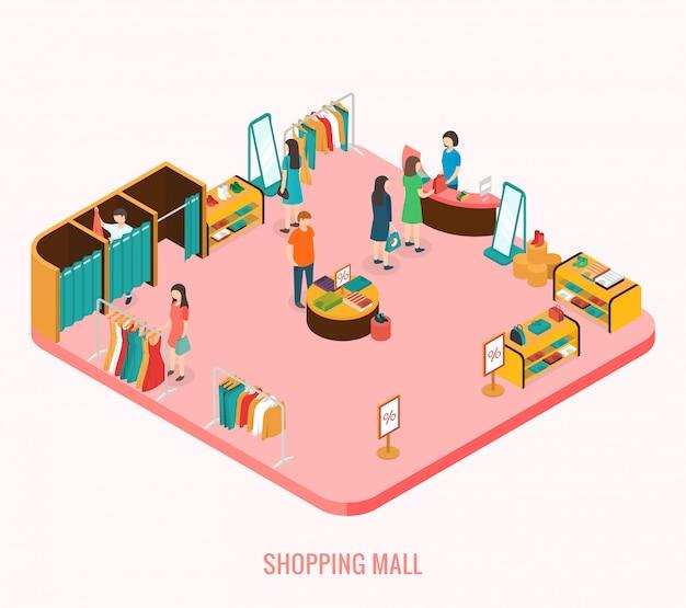 Concepto de centro comercial. ilustración isométrica 3d
