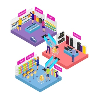 Concepto de centro comercial isométrico