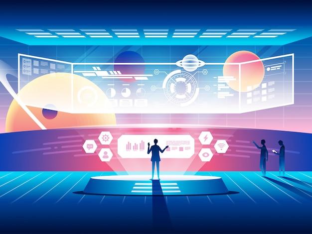 Concepto de centro de control futurista. tecnologías espaciales modernas.