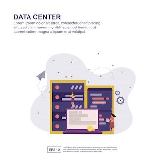 Concepto de centro de datos de diseño plano para su presentación.