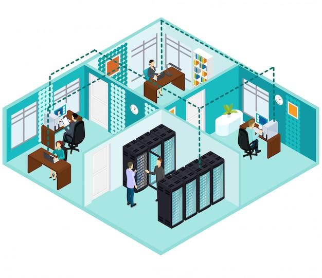 Concepto de centro de datos isométrico