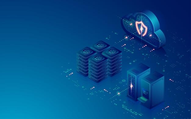 Concepto de centro de datos o almacenamiento en la nube, gráfico de computación en la nube con sala de servidores