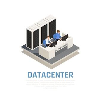Concepto de centro de datos con software de conexión y símbolos de hardware isométricos