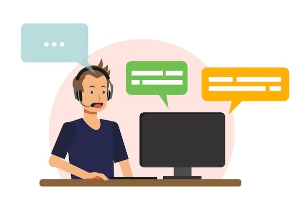 Concepto de centro de llamadas, agente de centro de llamadas masculino es cliente de respuesta. ilustración de personaje de catoon de vector plano.