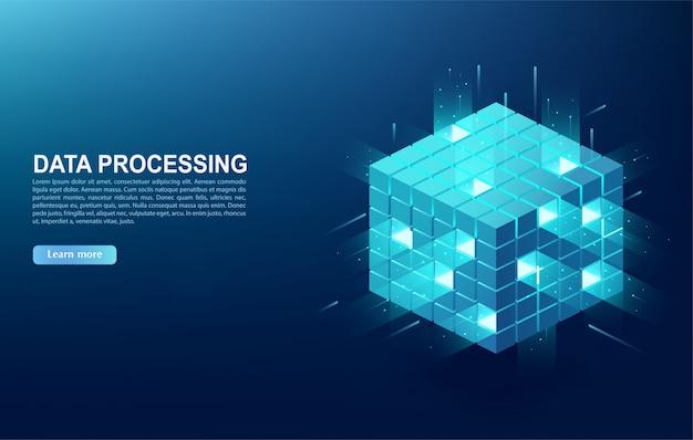 Concepto de centro de procesamiento de datos grandes, base de datos en la nube, estación de energía del servidor del futuro. tecnologías de la información digital en forma de cubo, banner web.