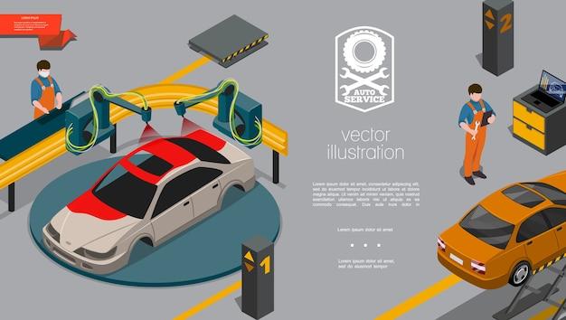 Concepto de centro de reparación de automóviles isométrica