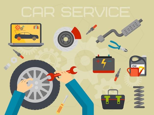 Concepto de centro de servicio de reparación de automóviles
