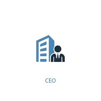 Concepto de ceo 2 icono de color. ilustración simple elemento azul. diseño de símbolo de concepto de ceo. se puede utilizar para ui / ux web y móvil