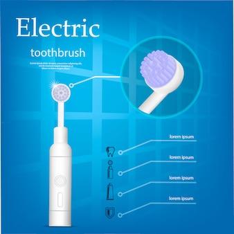 Concepto de cepillo de dientes eléctrico, estilo realista.