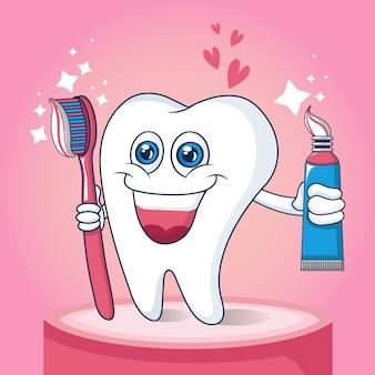 Concepto de cepillo de dientes, estilo de dibujos animados