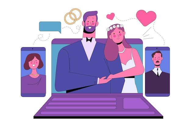 Concepto de ceremonia de boda en línea