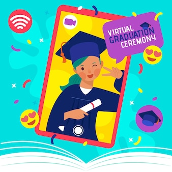 Concepto de ceremonia de graduación virtual