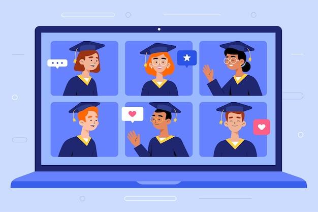 Concepto de ceremonia de graduación virtual