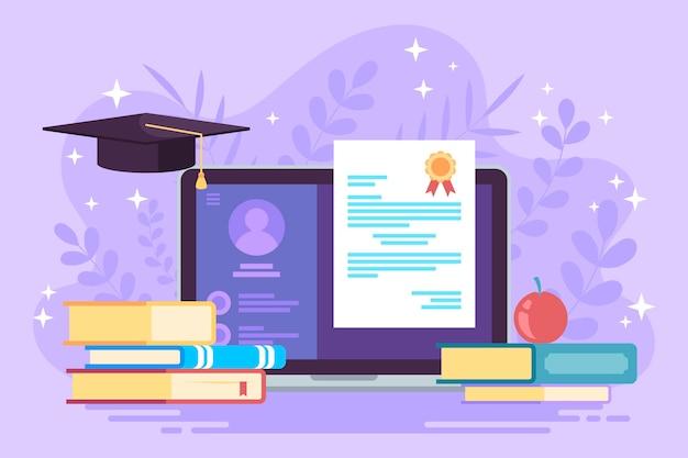 Concepto de certificación en línea con libros.