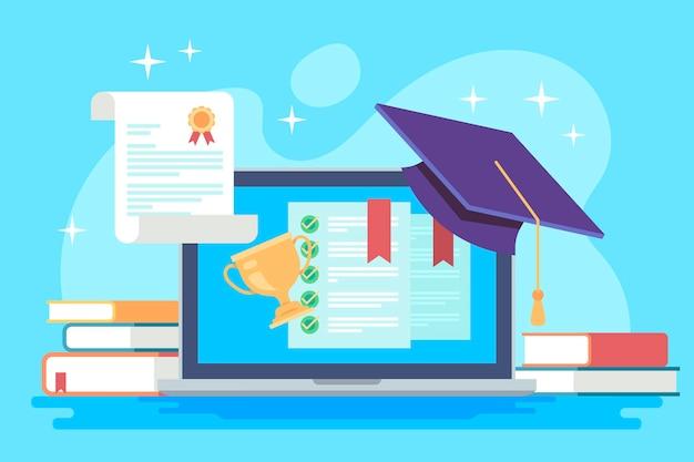 Concepto de certificación en línea con título