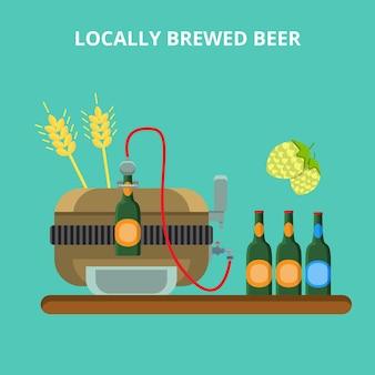 Concepto de cervecería de cerveza elaborada localmente. pequeño vertido de botellas de lúpulo de centeno de la máquina de la industria cervecera casera local.