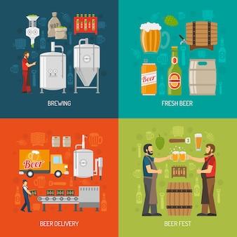 Concepto de cervecería icons set