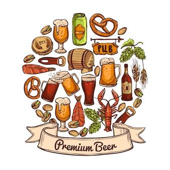 Concepto de cerveza premium
