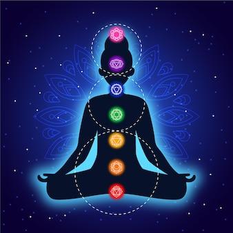 Concepto de chakras con cuerpo