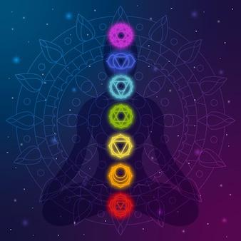 Concepto de chakras con forma humana