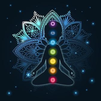 Concepto de chakras con mandala y puntos focales