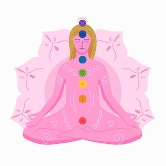 Concepto de chakras con mujer meditando