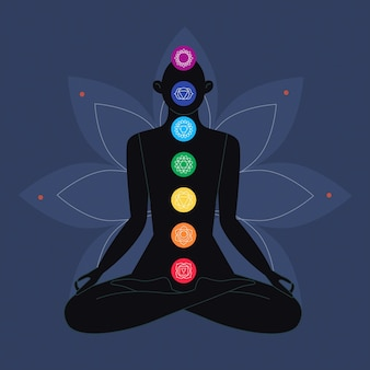 Concepto de chakras multicolores