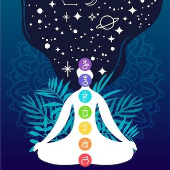 Concepto de chakras con símbolos