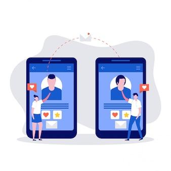 Concepto de chat en línea con personajes de pareja joven y dos teléfonos inteligentes.