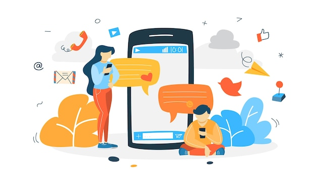 Concepto de chat en línea