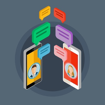 Concepto de chat móvil, concepto de red social, personas en la pantalla del teléfono inteligente. ilustración de diseño plano.