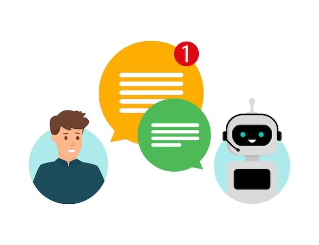 Concepto chatbot charla humana con robot servicio y soporte al cliente