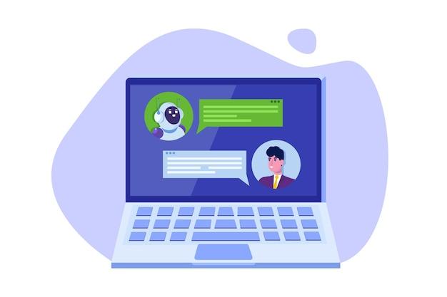 Concepto de chatbot. hombre hablando con robot. servicio de atención al cliente android, diálogo de inteligencia artificial.