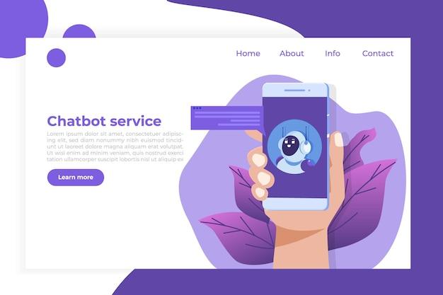 Concepto de chatbot. servicio de atención al cliente android, diálogo de inteligencia artificial.