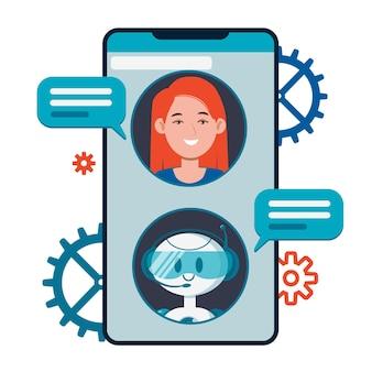Concepto de chatbot. usuarios que chatean con un lindo robot robot en el teléfono inteligente.
