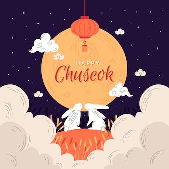 Concepto de chuseok dibujado a mano