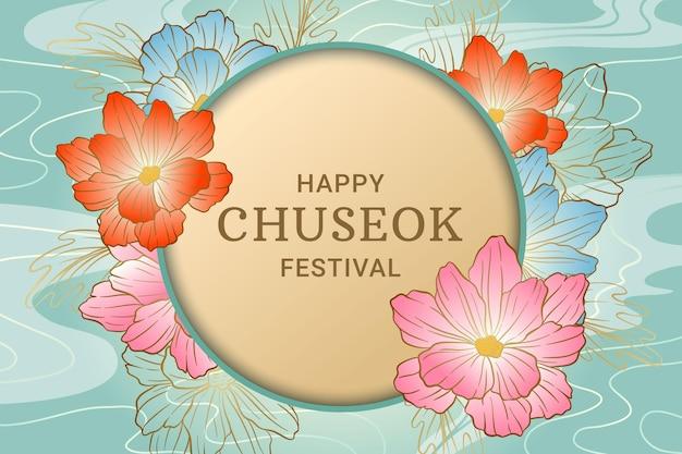 Concepto de chuseok feliz dibujado a mano